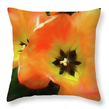 Throw Pillow featuring the mixed media Gold Unfolding by Lynda Lehmann