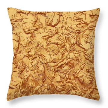 Gold Waves Throw Pillow