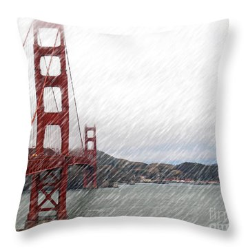 Golde Gate Rain Throw Pillow