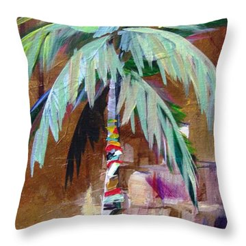 Golden Amethyst Palm Throw Pillow