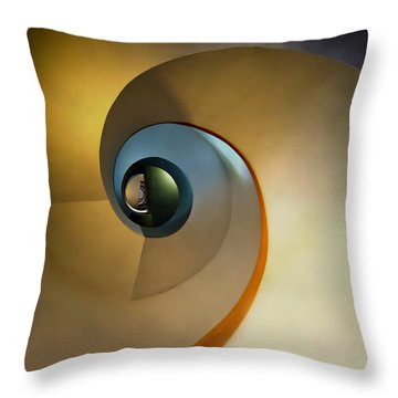 Golden And Brown Spiral Staircase Throw Pillow