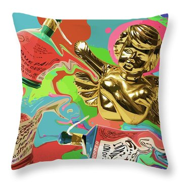 Golden Angel With Party Poppers Throw Pillow