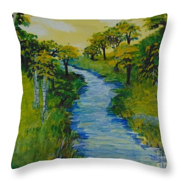 Throw Pillow featuring the painting Golden Aspens by Saundra Johnson