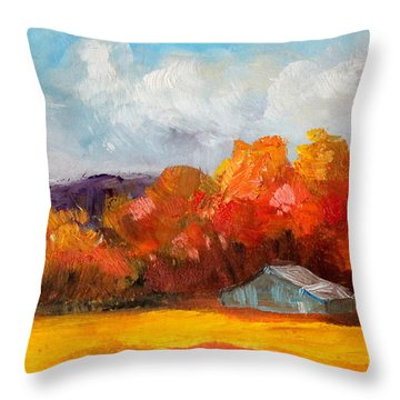 Golden Autumn Blue Country Horse Barn Throw Pillow