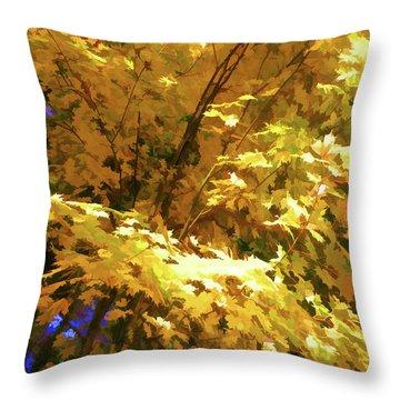 Golden Autumn Scenery Throw Pillow by Lanjee Chee