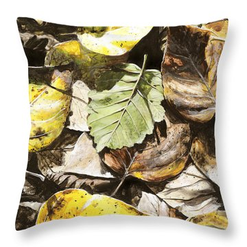 Throw Pillow featuring the painting Golden Autumn - Talkeetna Leaves by Karen Whitworth