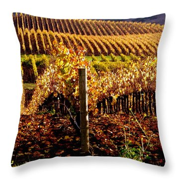 Golden Autumn Vineyard Throw Pillow