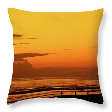 Golden Beach Sunset Throw Pillow