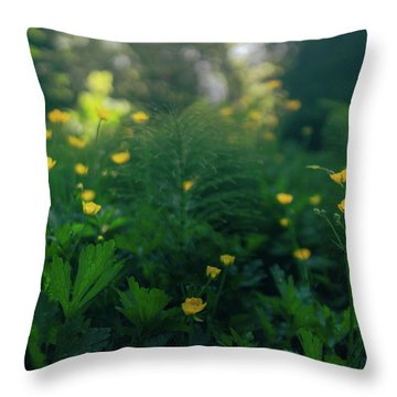 Golden Blooms Throw Pillow
