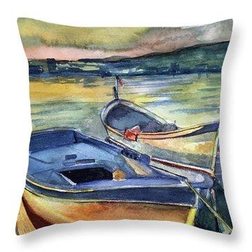 Golden Boats Throw Pillow