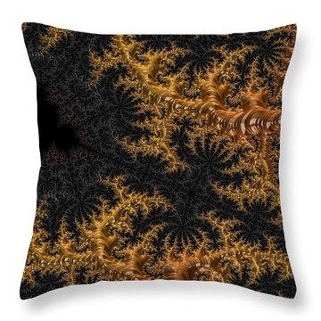 Golden Branching Moss Throw Pillow