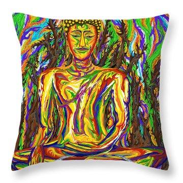 Golden Buddha Throw Pillow by Robert SORENSEN