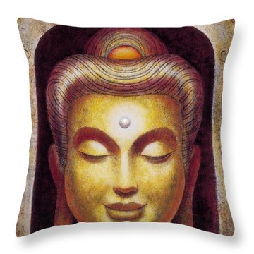 Throw Pillow featuring the painting Golden Buddha by Sue Halstenberg