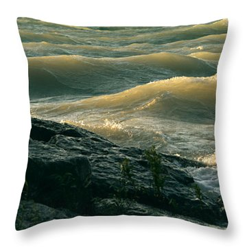Golden Capped Sunset Waves Of Lake Michigan Throw Pillow