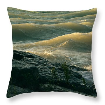 Throw Pillow featuring the photograph Golden Capped Sunset Waves Of Lake Michigan by SimplyCMB