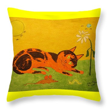 Golden Cat Reclining Throw Pillow