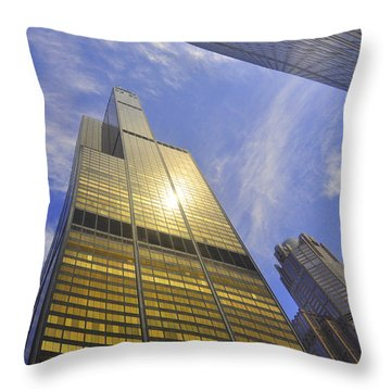 Golden Chicago Throw Pillow