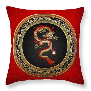 Golden Chinese Dragon Fucanglong On Red Leather  Throw Pillow