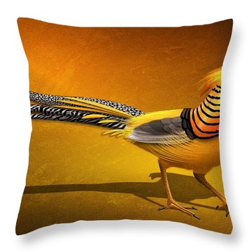Golden Chinese Pheasant Throw Pillow