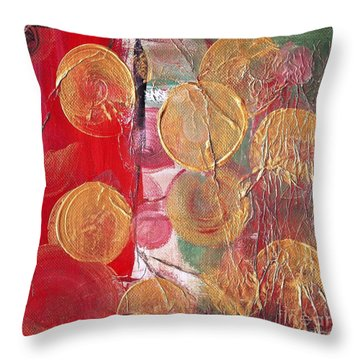Golden Circles On Red And Green Throw Pillow