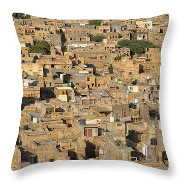 Throw Pillow featuring the photograph Golden City Jaisalmer by Yew Kwang