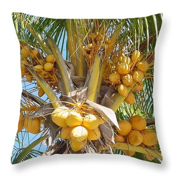 Golden Coconuts Key West Throw Pillow