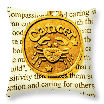 Golden Crab Cancer Throw Pillow