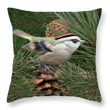 Golden Crowned Kinglet Throw Pillow