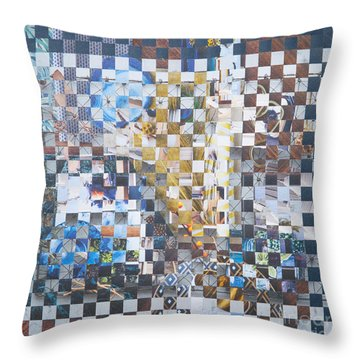 Throw Pillow featuring the mixed media Golden Cup by Jan Bickerton