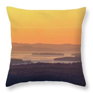 Golden Dawn Over Squam And Winnipesaukee Throw Pillow by Sebastien Coursol