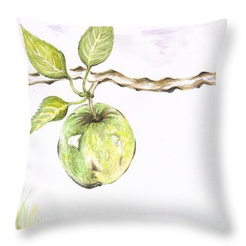 Golden Delishous Apple Throw Pillow by Teresa White