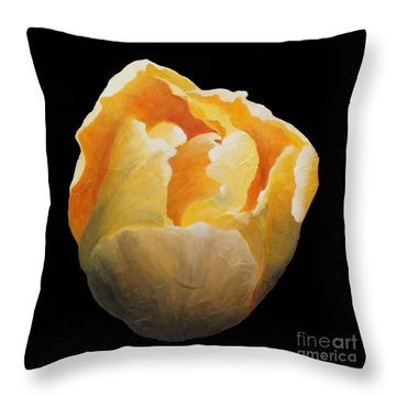 Golden Double Tulip Throw Pillow