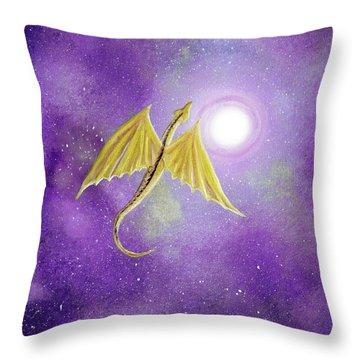 Golden Dragon Soaring In Purple Cosmos Throw Pillow