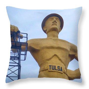 Golden Driller 76 Feet Tall Throw Pillow
