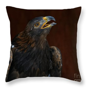 Golden Eagle Calling To The Sun Throw Pillow