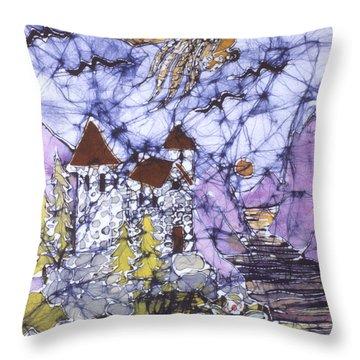 Golden Eagle Flies Above Castle Throw Pillow by Carol  Law Conklin