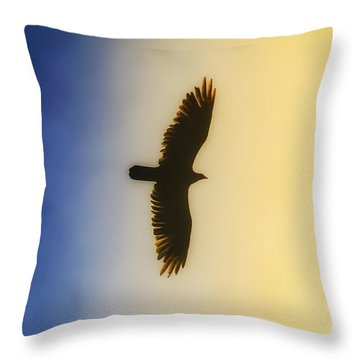 Golden Eagle Over Friday Harbor Throw Pillow
