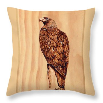 Golden Eagle Throw Pillow by Ron Haist