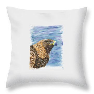 Throw Pillow featuring the painting Golden Eagle by Scott Wilmot