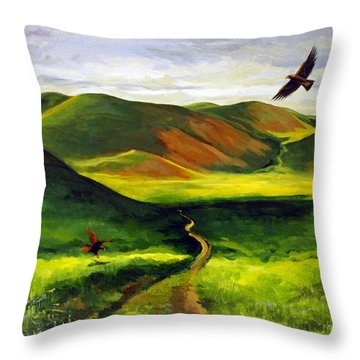 Throw Pillow featuring the painting Golden Eagles On Green Grassland by Suzanne McKee