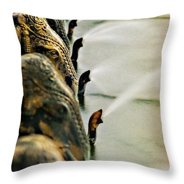 Golden Elephant Fountain Throw Pillow