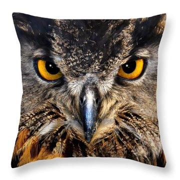 Golden Eyes - Great Horned Owl Throw Pillow