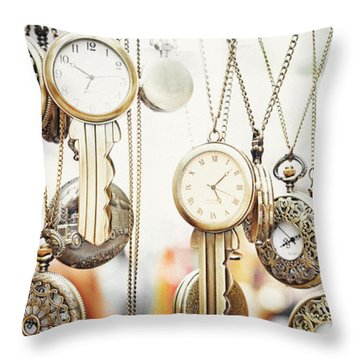 Golden Faces Of Time Throw Pillow