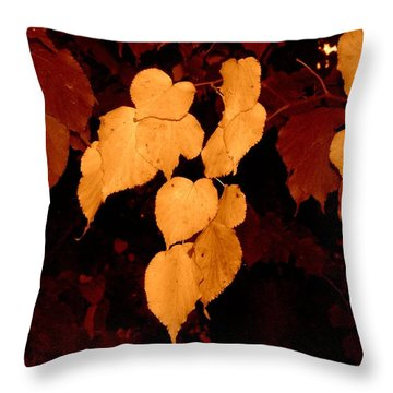 Golden Fall Leaves Throw Pillow
