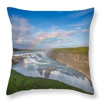 Golden Falls, Gullfoss Iceland Throw Pillow