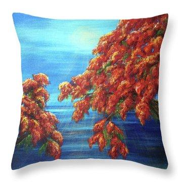 Golden Flame Tree Throw Pillow