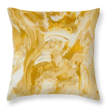 Golden Flow Throw Pillow by Irene Hurdle