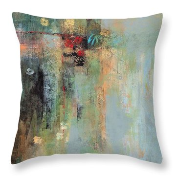 Throw Pillow featuring the painting Golden Flowers by Frances Marino