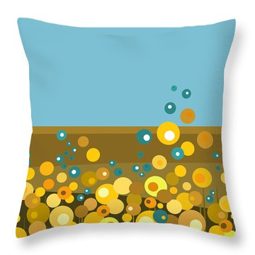 Golden  Flowers Throw Pillow by Val Arie