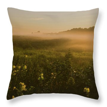 Golden Fog Sunrise At The Refuge Throw Pillow